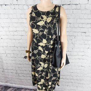 Studio I cream and black floral midi dress